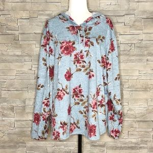 Blue fine-knit floral hooded sweater